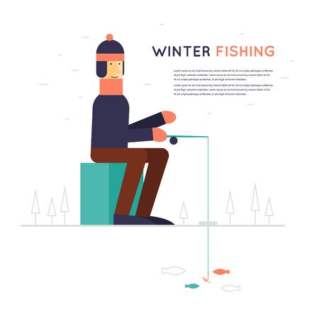 ice fishing: Pesca del invierno, una sesi�n hombre y la pesca en el hielo. Ilustraci�n de estilo Flat