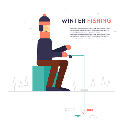 ice fishing: Winter fishing, a man sitting and fishing on ice. Flat style illustration Illustration