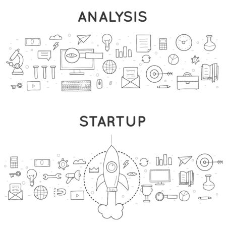 incarnation: Doodle Business Start-up. Start-up development. Business project. Flat Style Design. Illustration
