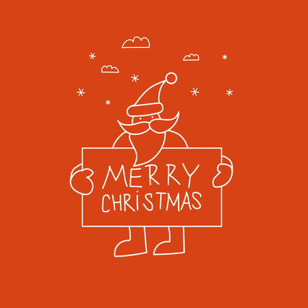 klaus: Doodle Santa is holding a plate with the inscription Merry Christmas and Happy New Year. Illustration