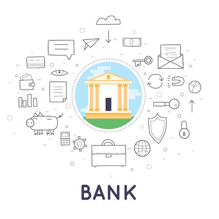 banco dinero: Banco Doodle depositó el dinero, las finanzas, las transferencias, la moneda, los depósitos. Diseño plano. Vectores