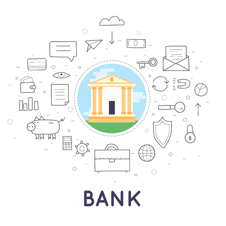 transfers: Doodle Bank deposited the money, finances, transfers, currency, deposits. Flat design.