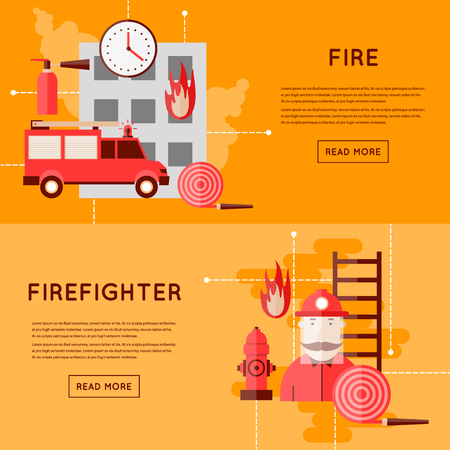bombero de rojo: Bombero y los iconos. Coche de bomberos en incendio. Estilo plano ilustración vectorial