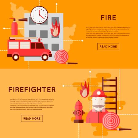 brandweer cartoon: Brandweerman en pictogrammen. Brandweerwagen in vuur en vlam. Vlakke stijl vector illustratie