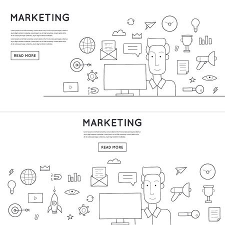 media icons: Doodle design email marketing.