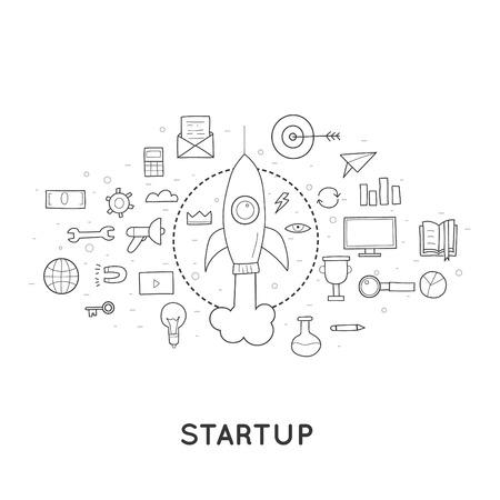 Doodle Start up, lancement de la fusée, une nouvelle idée pour une entreprise.