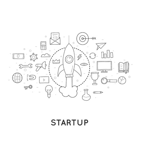 new idea: Doodle Start up, rocket launch, a new idea for a business.
