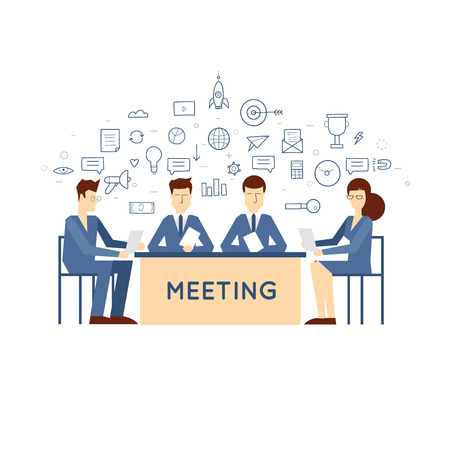 Doodle Meeting business meeting to discuss the strategy, development of ideas, the signing of the agreement, contract, discussion. Flat design. Vectores