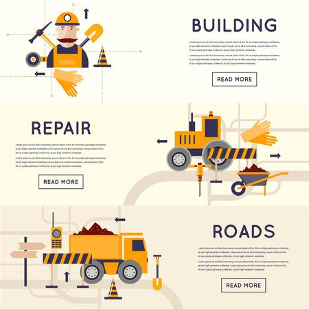 seguridad industrial: Equipos de construcción de carreteras. Camino de reparación trabajador de caminos. 3 banderas. Diseño plano ilustraciones vectoriales.