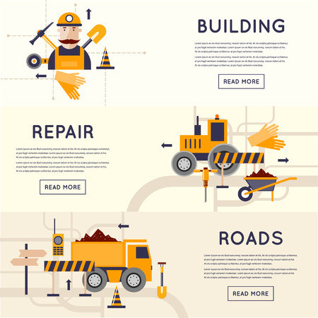 Road construction equipment. Road worker repair of roads. 3 banners. Flat design vector illustrations.
