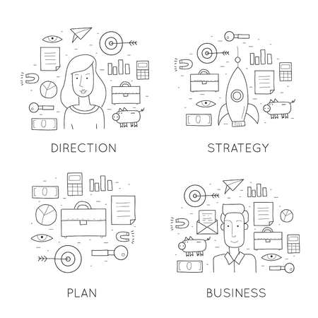 business agreement: Doodle business development ideas, consultation, contract, agreement, start-up. Illustration