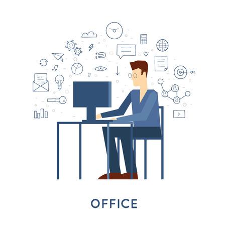 Carattere dell'uomo d'affari Doodle seduto alla scrivania in ufficio illustrazione vettoriale. Design piatto.