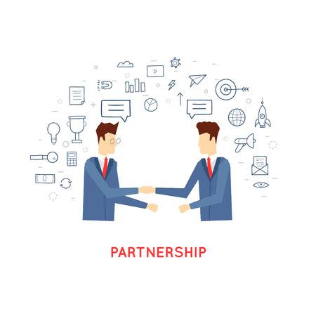 パートナーシップ、協同、二人の男は手を振る、契約、契約、ビジネスを落書き。フラットなデザイン。