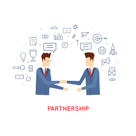 Doodle partnership, co-operation, the two men shake hands, contracts, agreements, business. Flat design.