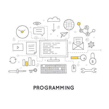 html: Doodle Process coding and html programming. Flat design vector illustration. Illustration