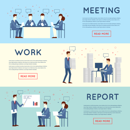 men at work sign: Business people in an office work, negotiations, hard work, stress, report, teamwork. Flat design vector illustration.