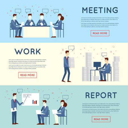La gente de negocios en un trabajo de oficina, negociaciones, el trabajo duro, el estrés, informe, el trabajo en equipo. Ilustración vectorial Diseño plano. Ilustración de vector