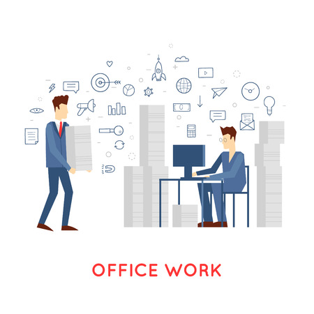 hectic: Doodle A lot of work and stress. A man working in the office at the computer. Flat design vector illustration. Illustration