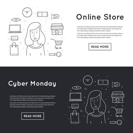 vector element: Doodle On-line shopping, Cy-ber Monday on a dark background.