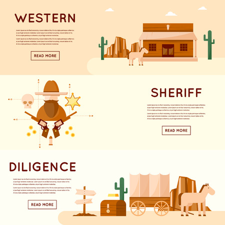 diligence: Wild west cowboys, diligence driven by gold, sheriff, crossroads desert with cactus and mountains, a chest of gold. Flat style vector illustration.