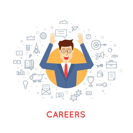 careers: Doodle Successful career businessman. Flat design vector illustration. Illustration