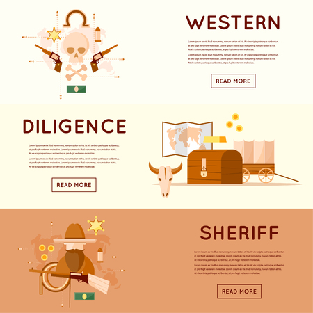 diligence: Wild west cowboys, diligence driven by gold, sheriff, skull with pistols, a chest of gold. Flat style vector illustration.