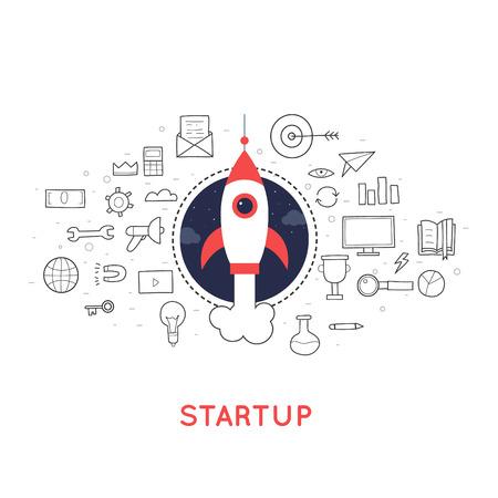 new idea: Doodle Start up, rocket launch, a new idea for a business. Flat deign.