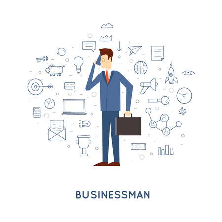 mobile phones: Doodle Businessman talking on the phone. Flat design. Illustration