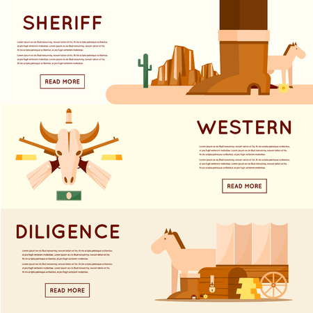 driven: Wild west diligence driven by gold, sheriff, skull of an animal with guns, crossroads desert with cactus and mountains, a chest of gold. Flat style vector illustration.