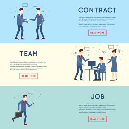 trabajando duro: La gente de negocios en un trabajo de oficina, sociedad, trabajo en equipo, se apresuran a trabajar. Ilustración vectorial Diseño plano.