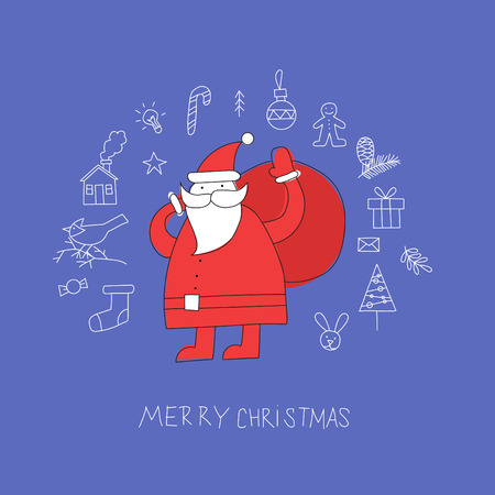 carries: Doodle Merry Christmas and Happy New Year, Santa Claus carries a bag with gifts. Flat design. Illustration