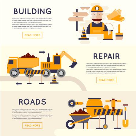 Road construction equipment. Road worker repair of roads. 3 banners. Flat design vector illustrations.
