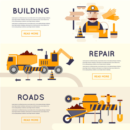 under construction sign: Road construction equipment. Road worker repair of roads. 3 banners. Flat design vector illustrations.