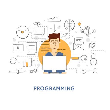 プログラマは、プログラムとテーブルに座っています。プログラミング、データベース サーバー。落書きデザイン。フラット スタイル。