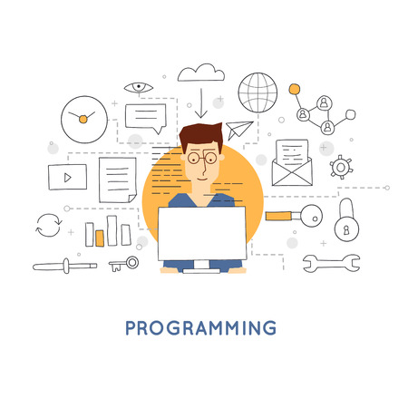 programs: Programmer sitting at a table and programs. Programming, database server. Doodle design. Flat style. Illustration