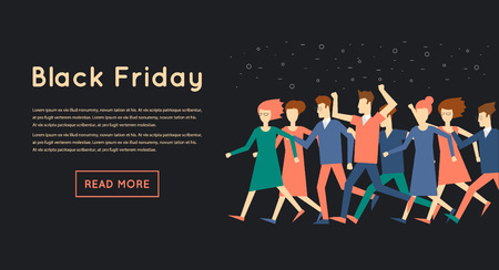 black people: Black Friday crowd of people running to the store on sale. Flat design vector illustration. Illustration