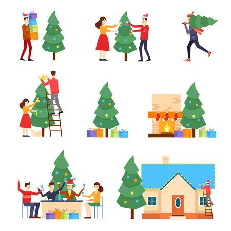 Frohe Weihnachten und Happy New Year. Menschen für das neue Jahr vorbereiten, Geschenke kaufen, schmücken den Weihnachtsbaum, feiern das neue Jahr, das Haus schmücken, die Geschenke unter den Baum legen. Standard-Bild - 47547535