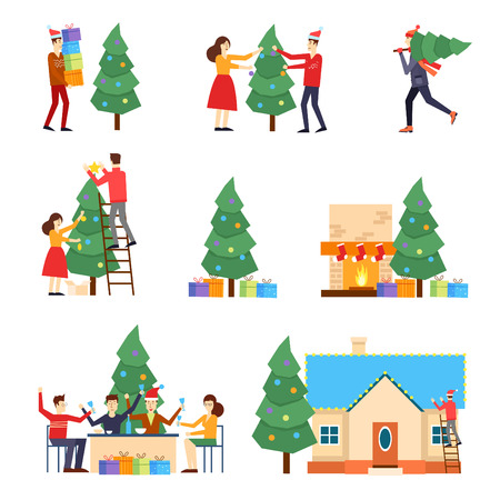 tree illustration: Merry Christmas and Happy New Year. People are preparing for the new year, buying presents, decorating the Christmas tree, celebrate the new year, decorate the house, put the presents under the tree.