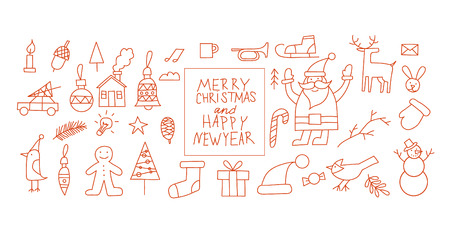 one year old: Merry christmas and a happy new year. Poster, banner, card. Thin line.