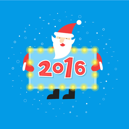 one year old: Merry christmas and a happy new year. Santa Claus is holding a plate with the inscription. Poster, banner, card. Flat design vector illustration.