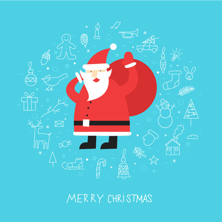 christmas costume: Merry christmas and a happy new year. Santa Claus carries a bag with gifts round icons thin line. Poster, banner, card. Flat design vector illustration.