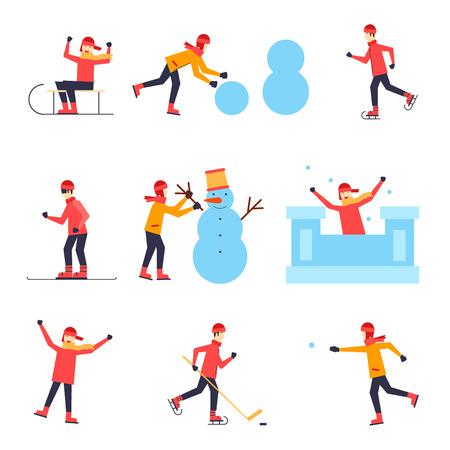 frio: Niños trineo, patinaje sobre hielo, snowboard, jugando al hockey, bola de nieve, esculpir un muñeco de nieve, una fortaleza, que tiene cartel divertido, bandera, tarjeta. Ilustración vectorial Diseño plano.