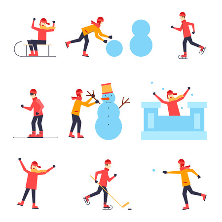 Children sledding, ice skating, snowboarding, playing hockey, snowball, sculpt a snowman, a fortress, having fun Poster, banner, card. Flat design vector illustration.