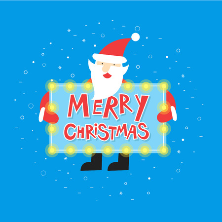 cartoon christmas eve: Merry christmas and a happy new year. Santa Claus is holding a sign with the inscription Merry christmas. Poster, banner, card. Flat design vector illustration.