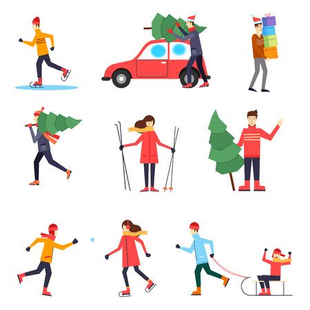 Vrolijk kerstfeest en een gelukkig nieuwjaar. Mensen bereiden zich voor op het nieuwe jaar, wintersport. Platte ontwerp vector illustratie.