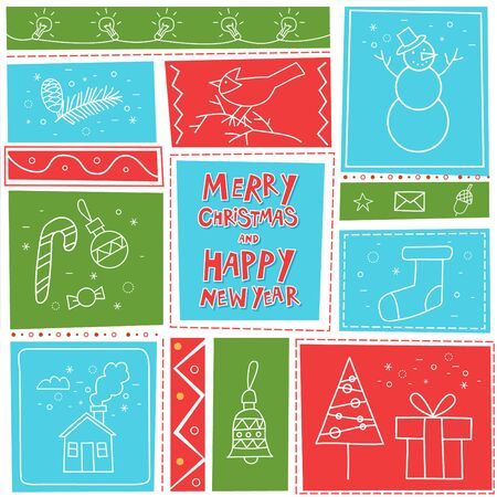 materia: Merry Christmas and Happy New Year. Postcard, banner, printed matter, greeting card. Flat design. Vettoriali
