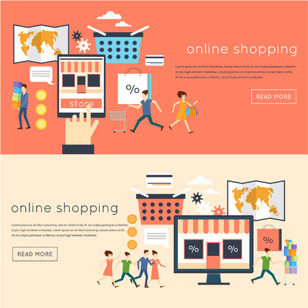 retailer: Flat design on-line Store, on-line shopping concept. Black Friday, Cy-ber Monday. Process of buying goods on-line. Pay per click. Material design. Flat design.