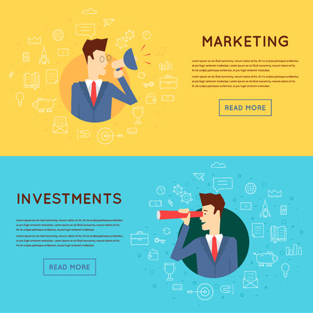Doodle thin line Marketing man yelling into a speaker, Investing in Business. Flat design. Vectores