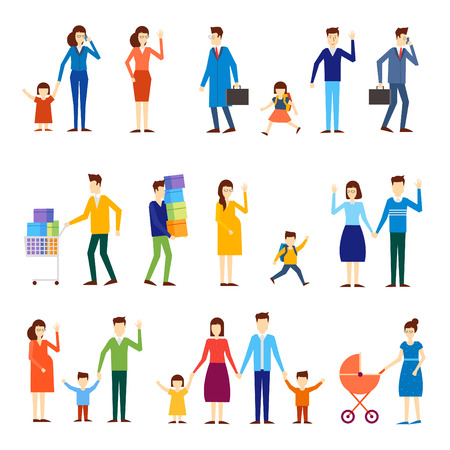 Families with children, pregnant women, couples, schoolboy. Flat design.