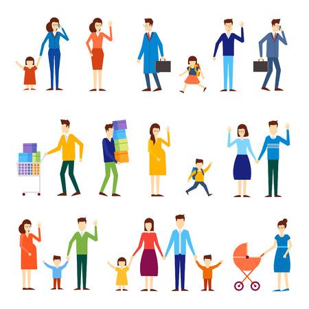 Families with children, pregnant women, couples, schoolboy. Flat design.
